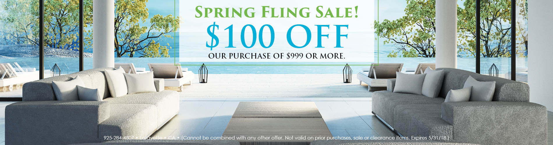 $100 OFF your purchase of $999 or more during the Spring Fling sale at Blidgett's Abbey Carpet & Flooring!