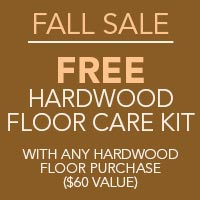 Free hardwood floor care kit with any hardwood purchase at Blodgett's Floor Covering in Lafayette.